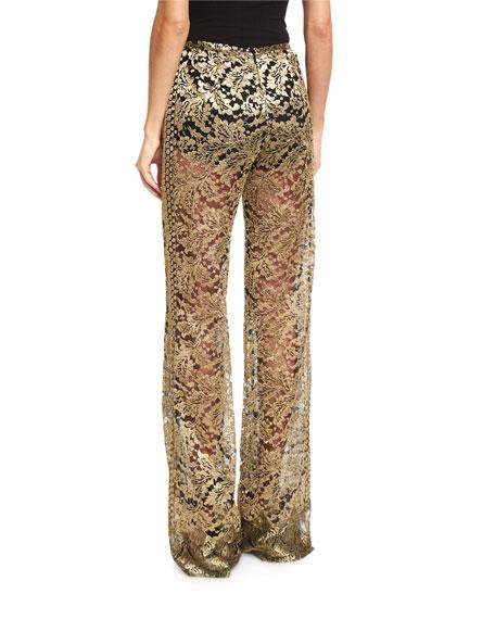 Metallic Lace Flare-Leg Pants, Gold