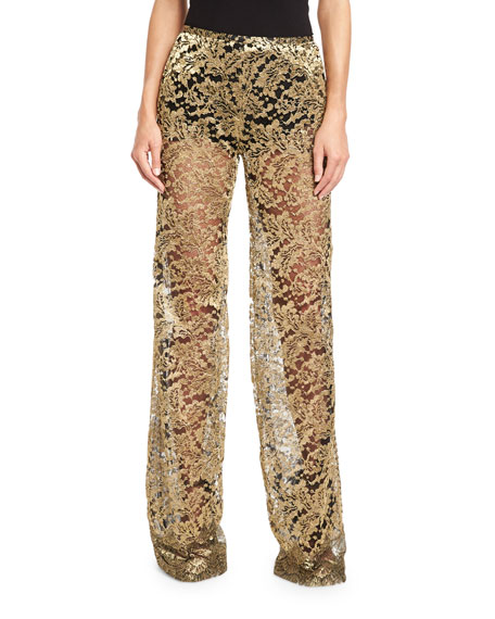 Metallic Lace Flare-Leg Pants, Gold