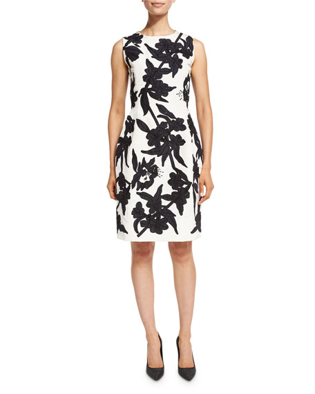 Oscar de la Renta Beaded Faille Sheath Dress,