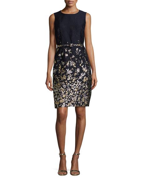 Oscar de la Renta Floral-Embroidered Sleeveless Sheath Dress, Navy ...