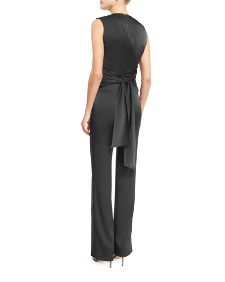 Sleeveless Wrap Satin Jumpsuit, Black