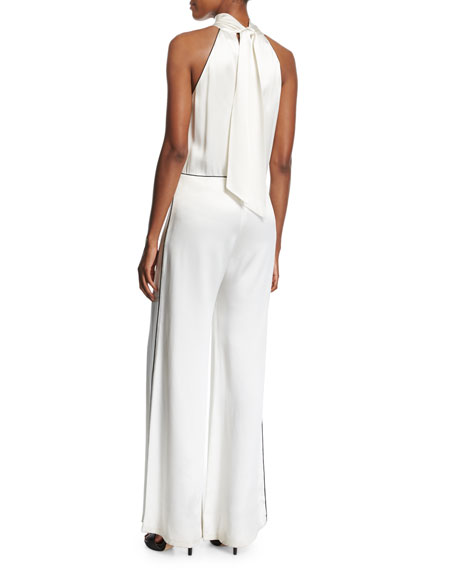 Satin Halter Wide-Leg Jumpsuit with Contrast Piping, Ivory/Black