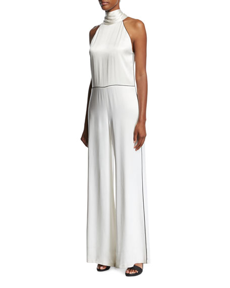 Galvan Satin Halter Wide-Leg Jumpsuit with Contrast Piping,