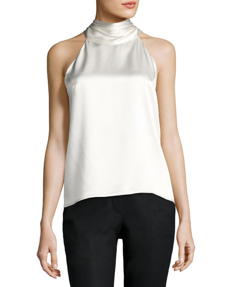 Satin Sleeveless Tie-Neck Blouse, Ivory
