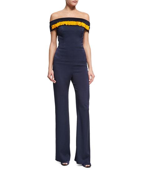 Galvan Off-the-Shoulder Paillettes Jumpsuit, Midnight