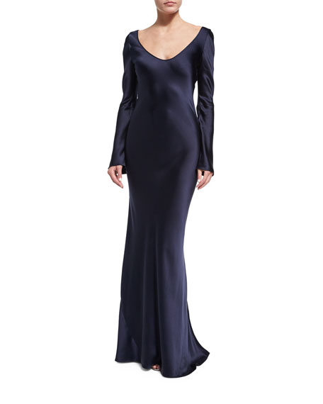 Galvan Long-Sleeve Satin Slip Gown, Midnight