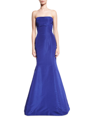 c5144ecd7 Marked down Strapless Ruffle-Back Silk Faille Gown Royal Oscar de la ...