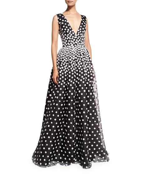 Sleeveless V-Neck Gown w/Floral-Embroidered Overlay, Black/White