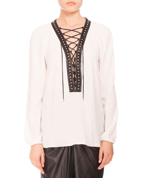 ALTUZARRA Studded Lace-Up Peasant Blouse, Natural White at Neiman Marcus