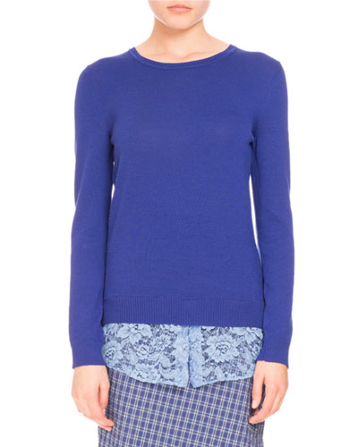 Lace-Hem Crewneck Sweater, Royal Blue
