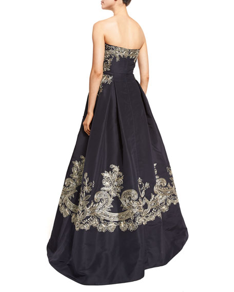 Strapless Embroidered Ball Gown, Navy/Champagne