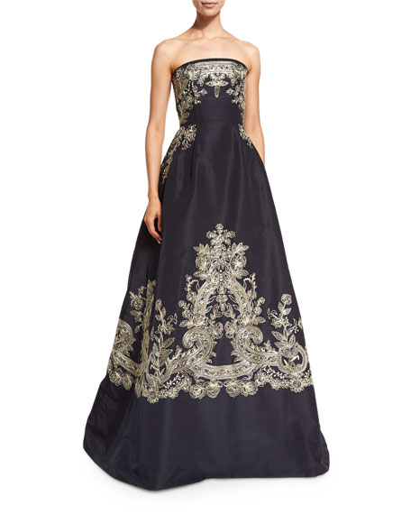 Oscar de la Renta Strapless Embroidered Ball Gown,