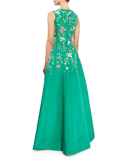 Bateau-Neck Threadwork Embroidered Gown, Clover