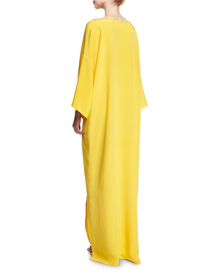 Split-Neck Belted Silk Caftan Gown, Yellow