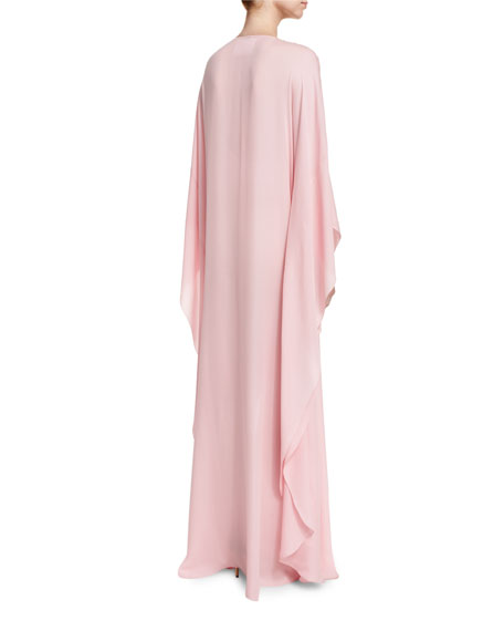 Embellished Self-Belt Silk Caftan Gown, Light Pink/Champagne
