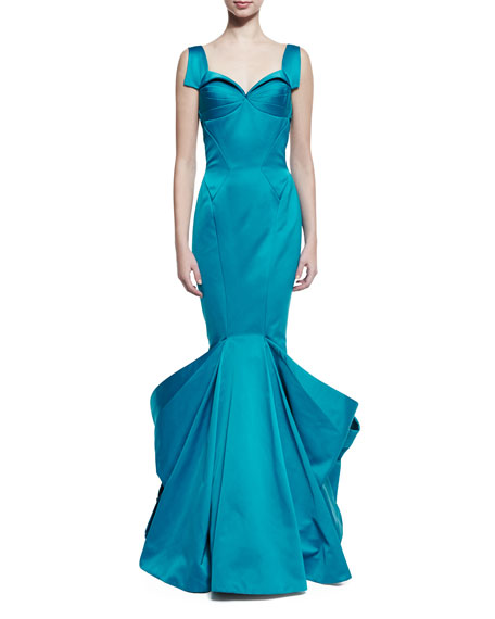 Sleeveless Pleated Mermaid Gown, Blue
