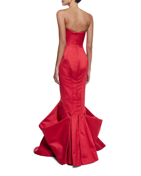 Strapless Pleated Mermaid Gown, Hibiscus