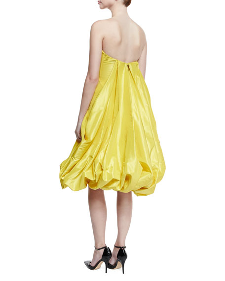 Strapless Bubble-Skirt Cocktail Dress, Bright Yellow