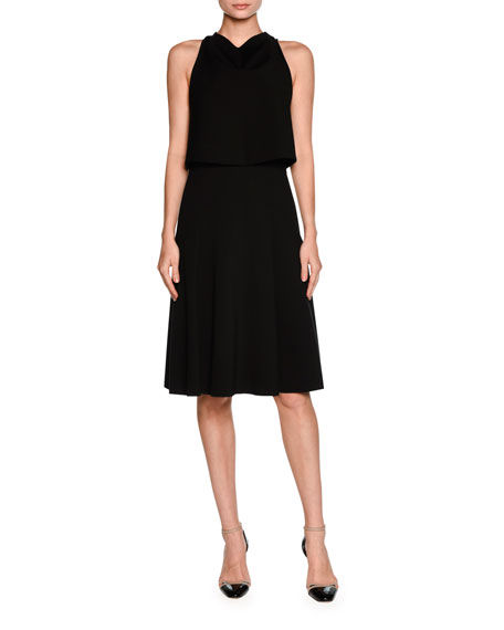 Giorgio Armani Sleeveless Draped Cocktail Dress, Black