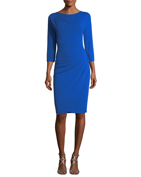 3/4-Sleeve Ruched Jersey Sheath Dress