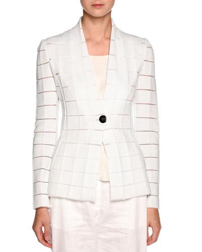 Sheer-Cutout One-Button Blazer, White