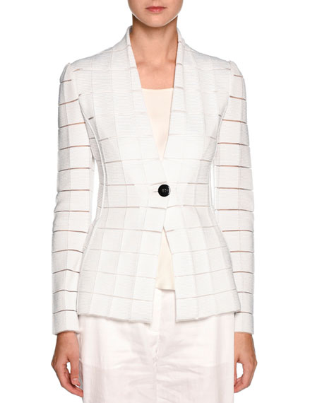 Giorgio Armani Sheer-Cutout One-Button Blazer, White