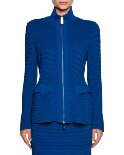 Ottoman Knit Flap-Pocket Zip Jacket, Electric Blue