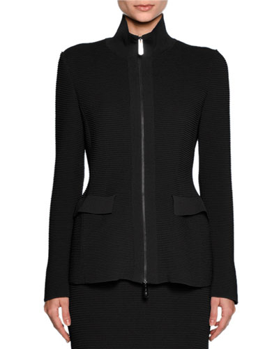 Ottoman Knit Flap-Pocket Zip Jacket, Black