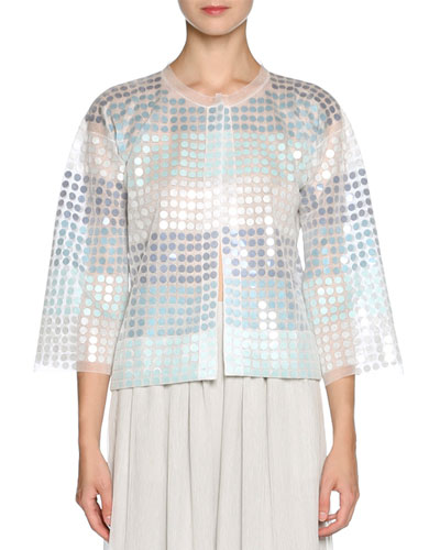 Sequined Chiffon 3/4-Sleeve Jacket, White