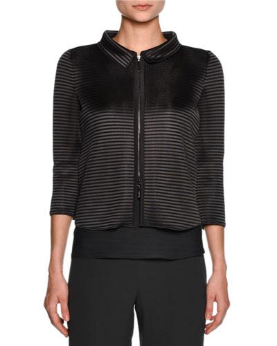 Scuba Horizontal-Stripe 3/4-Sleeve Jacket, Dark Gray
