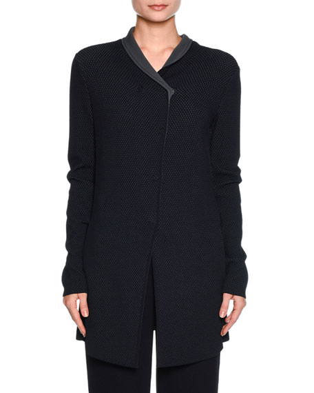 Long Perforated Snap-Front Jacket, Navy/Gray