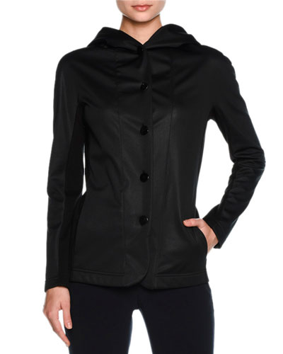 Cashmere-Lined Hooded Coat, Black