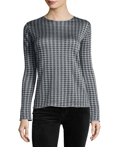 Houndstooth-Print Crewneck Sweater, Blue