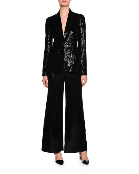 Sequined Wide-Leg Pull-On Pants, Black