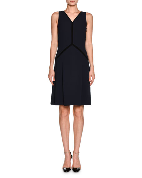 Giorgio Armani Contrast-Piped Sleeveless Cocktail Dress, Navy/Black