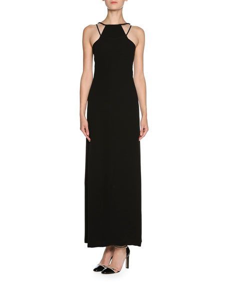 Sheer Tulle Sleeveless Halter Gown, Black