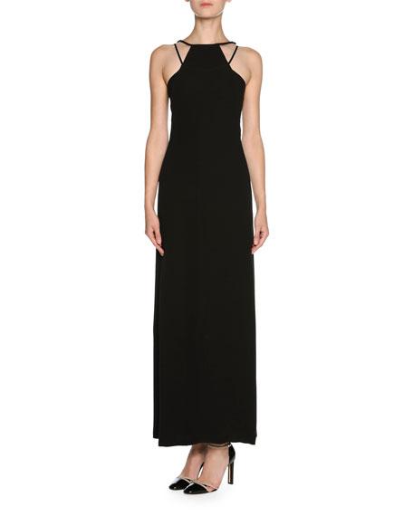 Sheer Tulle Sleeveless Halter Gown, Black