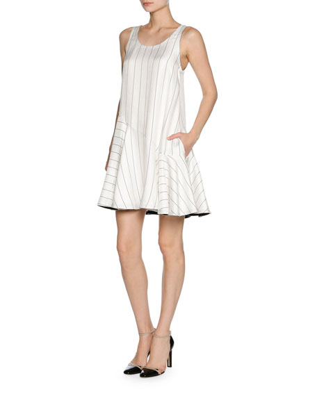 Pinstripe Jacquard Sleeveless Flare Dress, White/Black
