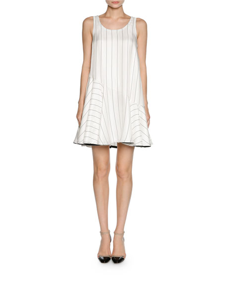 Giorgio Armani Pinstripe Jacquard Sleeveless Flare Dress,