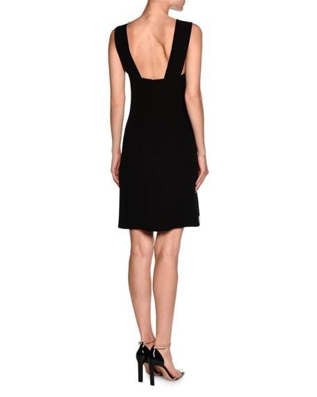 Sleeveless Side-Button Tuxedo Dress, White/Black