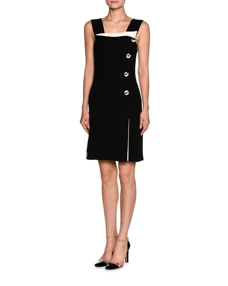 Sleeveless Side-Button Tuxedo Dress, White/Black