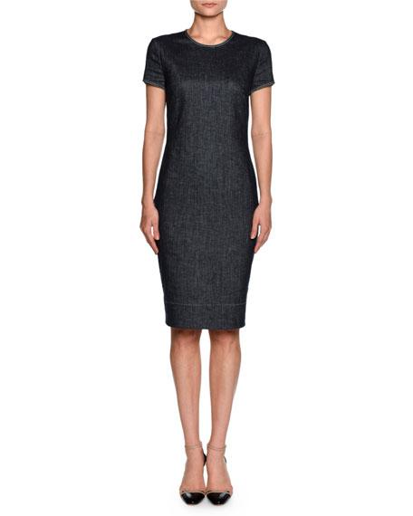 Giorgio Armani Denim Short-Sleeve Crewneck Sheath Dress, Indigo