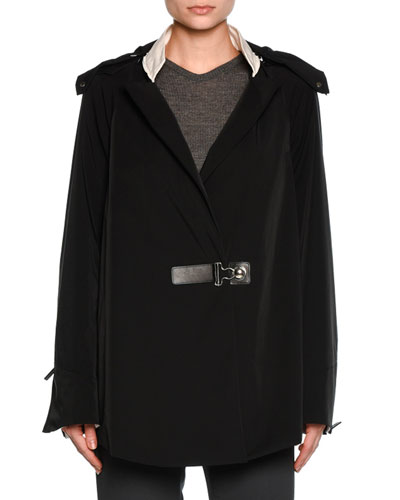Tech Removable-Hood Coat, Black