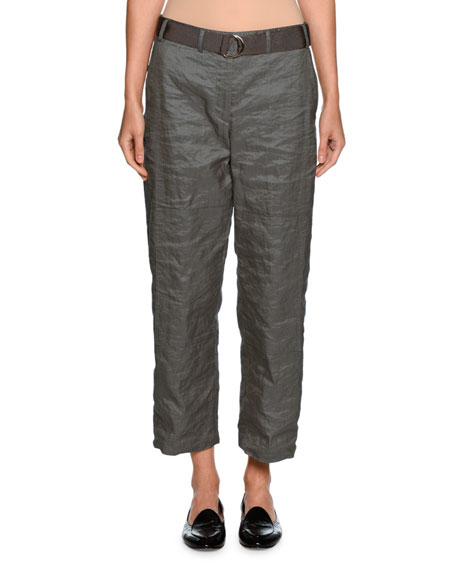 Giorgio Armani Belted Metallic Cropped Utility Pants, Gray