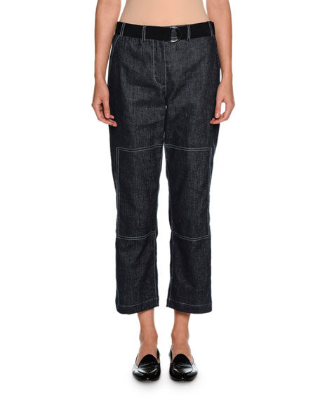 Giorgio Armani Belted Denim Cropped Utility Pants, Indigo
