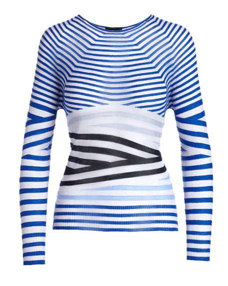 Sheer Striped Crewneck Sweater, Blue/Multi