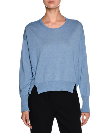Cashmere Side-Slit Crewneck Sweater, Cornflower Blue