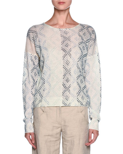 Cashmere Geometric-Print Sweater, Cream/Multi
