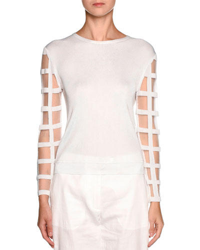 Windowpane-Sleeve Knit Sweater, White