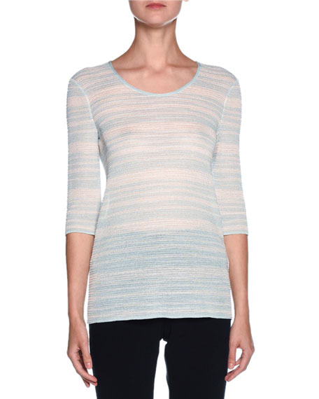 Giorgio Armani Striped 3/4-Sleeve Scoop-Neck Sweater, Light